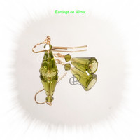 Swarovski Olivine Artemis Earrings, Gold Plated Earwires