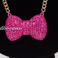 """The Pink Diamond"" Nerdy Girl Medium Bow Necklace"