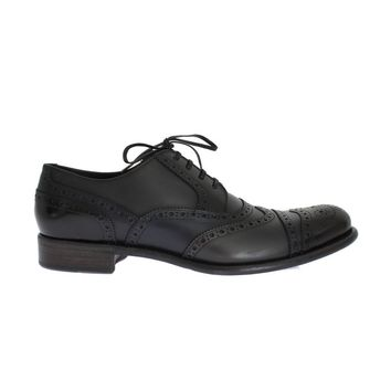 Dolce & Gabbana Black Blue Leather Oxford Wingtip Shoes