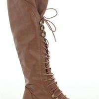 Tall Combat Boot with Lace up Front and Rounded Toe