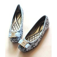 MK Popular Women Personality Pearl Bowknot Canvas Soft Flats Boat Shoes Single Shoes Grey I12184-1