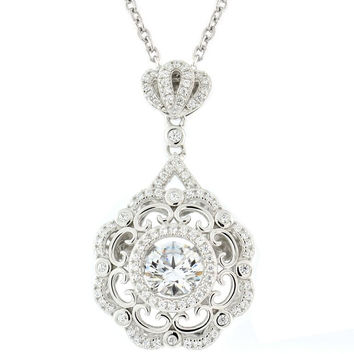 Gems In Motion Fancy Flower Sterling Silver Swarovski Pendant
