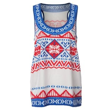 Stylish Scoop Neck Ethnic Print Tank Top For Women