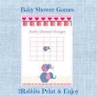 Pink Elephant Girl Baby Shower -  Baby Shower Bingo Gift Game -Printable Baby Shower Game- Instant Digital Printable- Pink , Blue Elephant