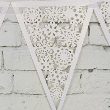 16 Flags 8M Lace Fabric Banners Personality Wedding Bunting Decor Snowflake Party Birthday Baby Show Garland Decoration