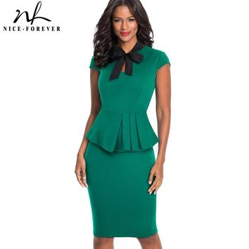 Nice-forever Vintage Elegant Pure Color Wear to Work Bow vestidos Business Party Bodycon Sheath Woman Office Ruffle Dress B449