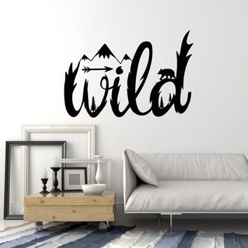 Wild Vinyl Wall Decal Lettering Word Nature Trees Mountains Animals Stickers Mural (ig5317)