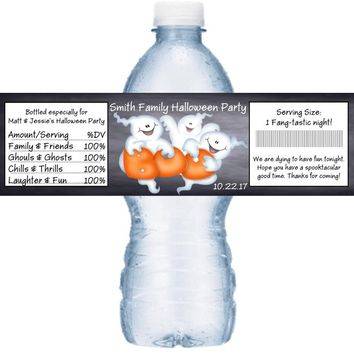 21 Ghost Halloween Party Water Bottle Labels