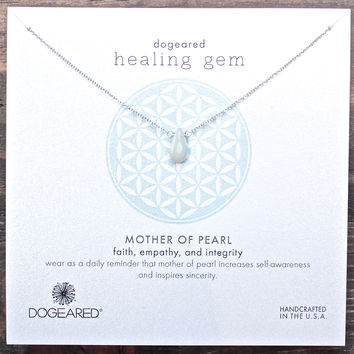 dogeared healing gem mother of pearl necklace, sterling silver