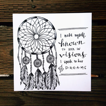 Numbers 12:6 - I Make Myself Known To Her In Visions; I Speak To Her In Dreams - Dreamcatcher Bible Verse Print - Modern Calligraphy