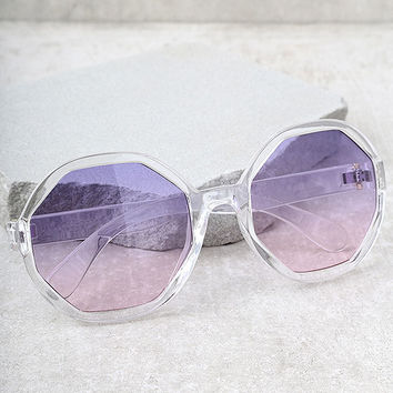 Crystal Dreams Clear and Purple Sunglasses