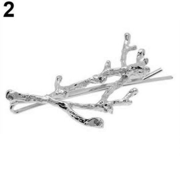 1 Pc Vintage Women Girl Antler Deadwood Hairpin Bobby Pin Hair Clip Accessory