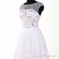 2015 Stunning white short beads prom dress, 80s backless prom dress with sequins, ball gown homecoming dress, mini cocktail dresses,RS1064