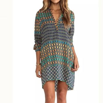 Daytime Chic Retro Inspired Printed Casual Loose Women's Long Sleeve V-Neck Dress