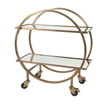 Gold / Brass Tone Stainless Steel Bar Cart