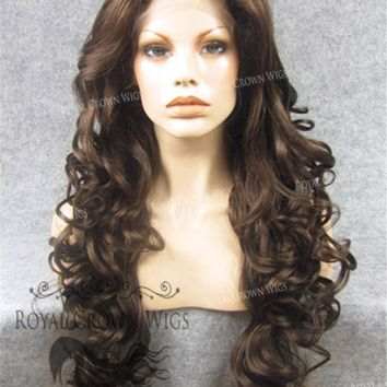 """26 inch Heat Safe Synthetic Lace Front in Curly Wig Texture """"Calypso"""" in Medium Brown Mix"""