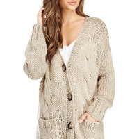 DailyLook: Oversized Open Knit Cardigan in Beige M/L