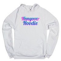 Hangover Hoodie (pink and blue)-Unisex White Hoodie