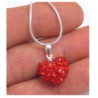 """Beautiful Valentine"" Shambhala Red Heart Necklace"