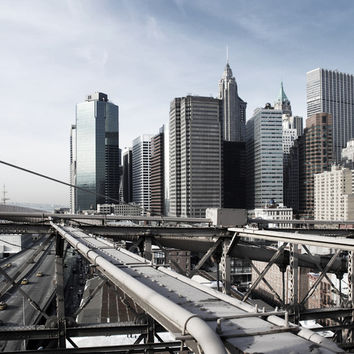 View Over Manhattan and Brooklyn Bridge Sections Wall Mural