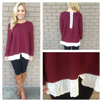 Burgundy Hamptons Eyelet Lace Sweater