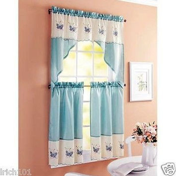 "3 Piece Kitchen Curtain Set Embroidered Butterflies With Swag and 24""L Tiers"
