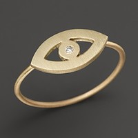 Zoë Chicco 14K Yellow Gold Diamond Evil Eye Ring