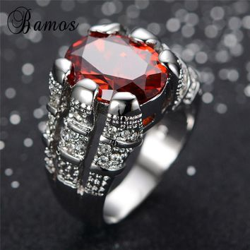 Bamos Big Oval Red AAA Zircon Rings for Women Men Fashion Jewelry Vintage 925 Sterling Silver Filled July Birthstone Ring RW0024
