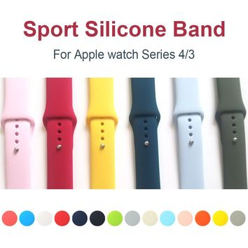Sport Silicone Band for apple watch Series 4 44mm 40mm Replaceable Bracelet Strap for iWatch 3 / 2 42mm 38mm Nike+ Watchband