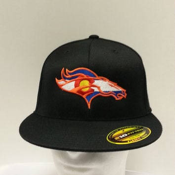 Colorado Broncos Denver hat embroidered on Flexfit Curved Bill Hat Free Shipping