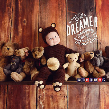 Long Sleeve Teddy Bear Romper Brown Cream animal paws feet sleeper Onesuit chocolate fall warm baby child costume halloween Newborn 3 6 month
