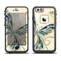 The Vibrant Tan & Blue Butterfly Outline Apple iPhone 6/6s LifeProof Fre Case Skin Set
