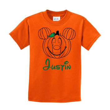 Halloween Mickey Mouse Pumpkin Shirt Personalized  Orange T-shirt