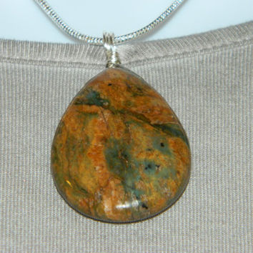 90ct. Mixed Brown Stone, Semi Precious, Agate, Pendant, Necklace, Teardrop, Natural Stone, 139-15