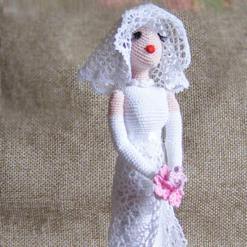 Crocheted doll, art doll, interior doll, decorative bride doll, handmade doll, ooak doll, collectible art doll, retro style doll