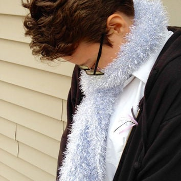 Fuzzy Knitted Super Soft Silver Scarf
