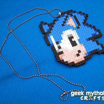 Sonic the Hedgehog Perler Bead Sprite Necklace