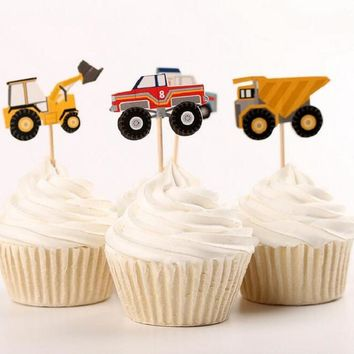 cake toppers model car boy paper banner for Cupcake Wrapper Baking Cup birthday tea party wedding decoration baby shower