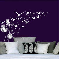 Wall Decal Vinyl Sticker Decals Art Home Decor Design Murals Dandelion Flower Flock Of Flying Birds Seagulls Nursery Bedroom Dorm AN454