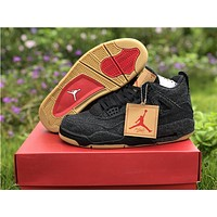 Levis x Air Jordan 4 All Black Basketball Shoe