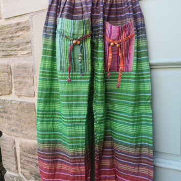 Colourful Stripe Hippy style pants one size