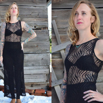 Vintage 90's Gothic Avant Garde Black Laced Open Knit Maxi Dress
