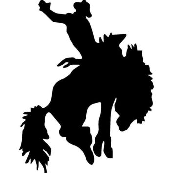 11.2cm*14.3cm Rodeo Bronco Rider Vinyl Car Stickers Horse Car Styling Cool Sports Decals Black/Silver S6-2766