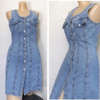 Vintage 90's Jean Dress, Denim Sexy Body Con / Button Up Wiggle Dress