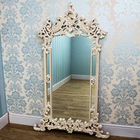 ROCOCO ROMANCE AFFAIR Mirror - Beautiful detailed mirror, hand carved from Mahogany, finished in hand-painted delicately antiqued