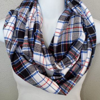 America at Midnight Chunky Plaid Soft Flannel Fall Scarf Womens Fall Plaid Fashion Girls Plaid Infinity Scarves Trending Plaid Scarf