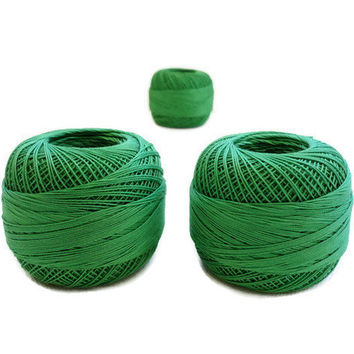 coton yarn 3 balls, fine crochet,50 number,100% mercerized Egyptian cotton,green,One ball's weight is 20gr