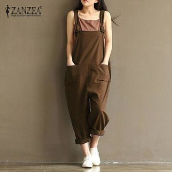 LMFCI7 ZANZEA Women Fashion Autumn Overalls 2017 Casual Rompers Womens Jumpsuit Pockets Loose Solid Paysuits Plus Size
