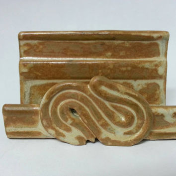 Business Card Holder Recipe Card Holder Sponge Holder Tan Glaze by Michele Patton