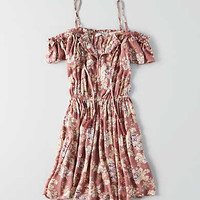 AEO Cold Shoulder Tassel Tie Dress, Mauve